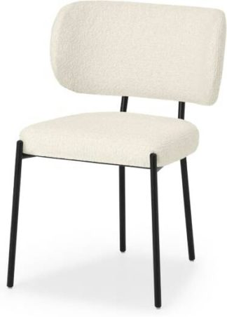 An Image of Asare Dining Chair, Whitewash Boucle & Black Leg