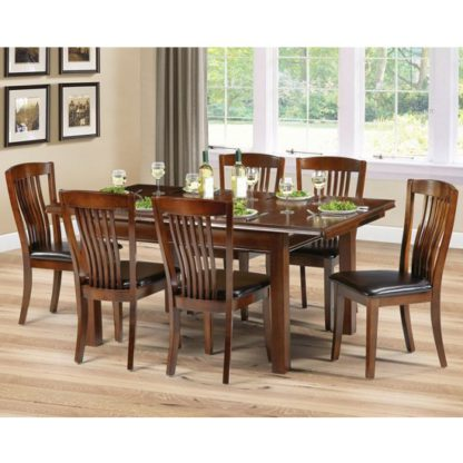 An Image of Canterbury Extending Dining Set In Mahogany With 6 Chairs
