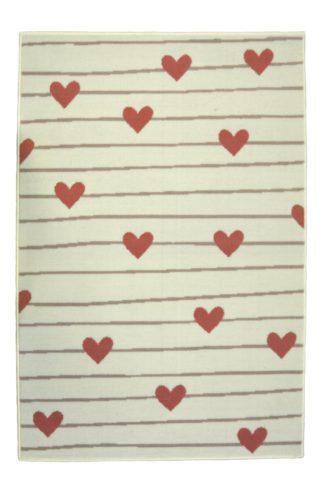 An Image of Homemaker Adorn Hearts Rug - 80x150cm - Ivory