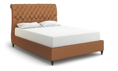 An Image of MiBed Cheshire Velvet Double Bed Frame - Mustard
