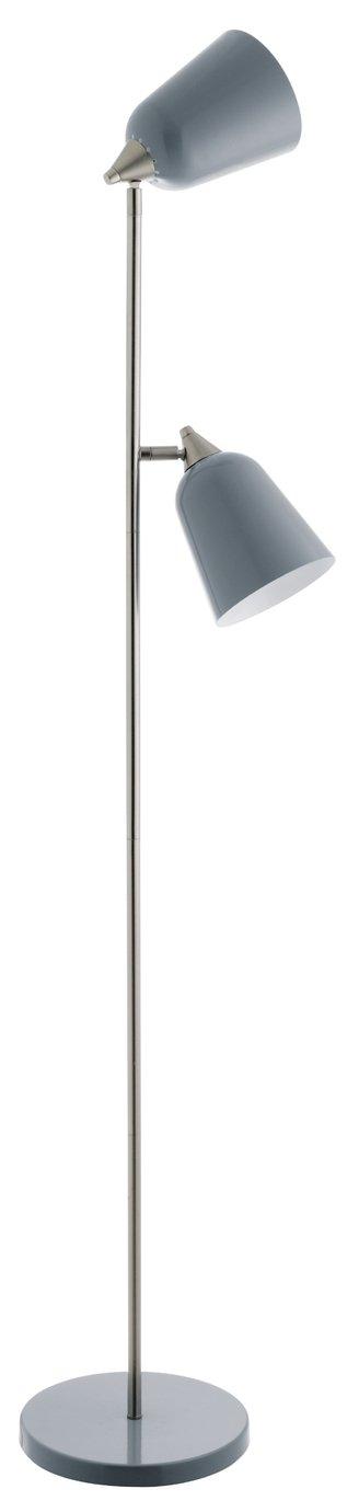 An Image of Habitat Double Floor Lamp - Grey