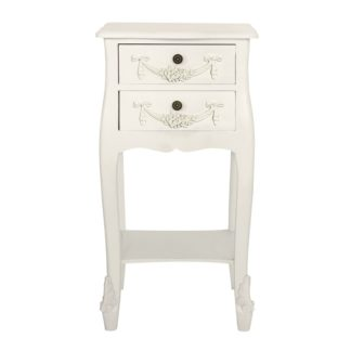 An Image of Toulouse Ivory 2 Drawer Bedside Table White