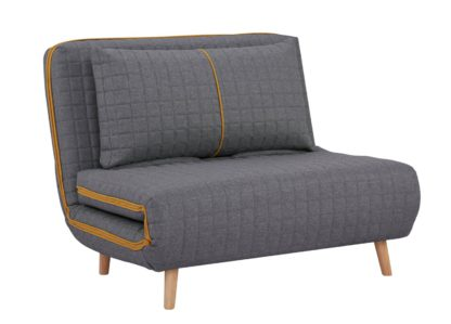 An Image of Habitat Roma Small Double Quilted Sofa Bed - Charcoal