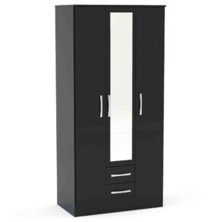 An Image of Lynx Black 3 Door 2 Drawer Mirrored Wardrobe Black