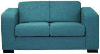 An Image of Habitat Ava Compact 2 Seater Fabric Sofa - Teal