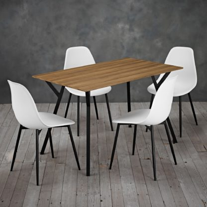 An Image of Lisbon 4 Seater Dining Set Brown and White