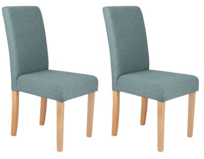 An Image of Argos Home Pair of Tweed Mid Back Dining Chairs - Teal