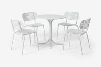 An Image of Emu 4 Seat Garden Dining Set, White Powder-Coated Steel