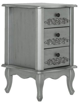 An Image of Argos Home Sophia 3 Drawer Bedside Table - Silver