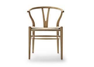 An Image of Carl Hansen & Søn Wishbone Chair CH24 Oiled Oak Frame Natural Paper Cord Seat