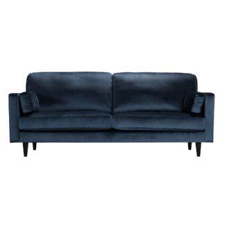 An Image of Sheldon Velvet 3 Seater Sofa Blue