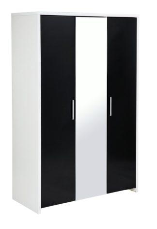 An Image of Habitat Broadway 3Dr Mirror Wardrobe - Black Gloss& White
