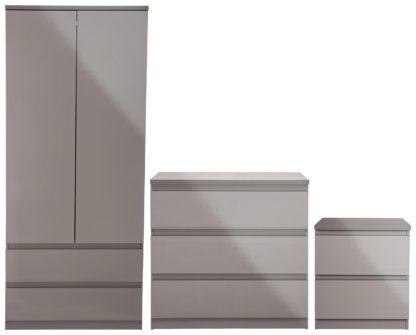 An Image of Habitat Jenson Gloss 3 Piece 2 Door Wardrobe Set - Grey