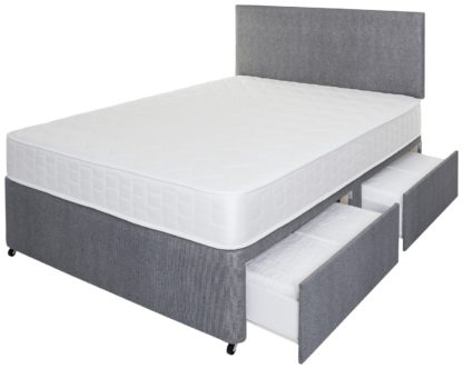 An Image of Argos Home Elmdon Memory 4 Drawer Small Double Divan - Grey