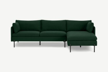 An Image of Zarina Right Hand Facing Chaise End Sofa, Forest Green Weave