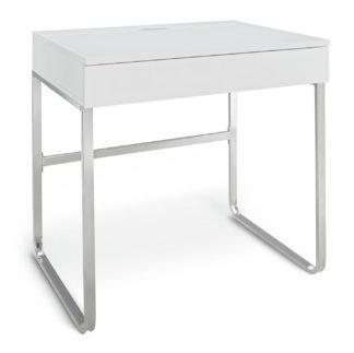An Image of Habitat Sammy 1 Drawer Desk - White Gloss