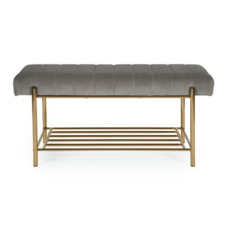 An Image of Kendall Grey Velvet Hallway Bench Grey