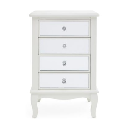 An Image of Palais Mirrored Ivory 4 Drawer Bedside Table Cream
