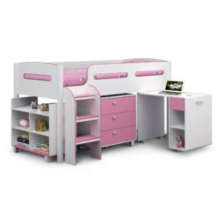 An Image of Kimbo Pink Cabin Bed Pink/White