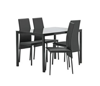 An Image of Argos Home Lido Glass Dining Table & 4 Black Chairs
