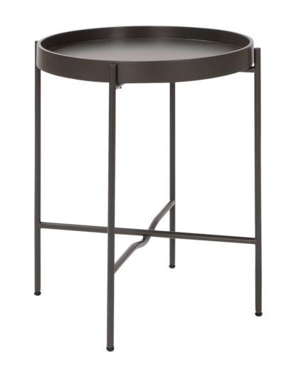 An Image of Habitat Metal Circular Bedside Table - Dark Grey