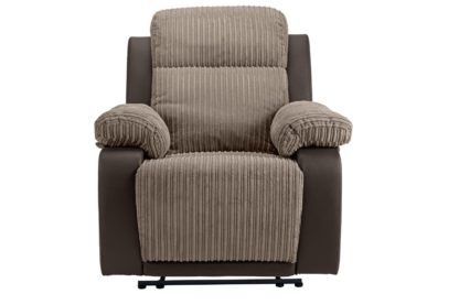 An Image of Argos Home Bradley Fabric Manual Recliner Chair - Natural