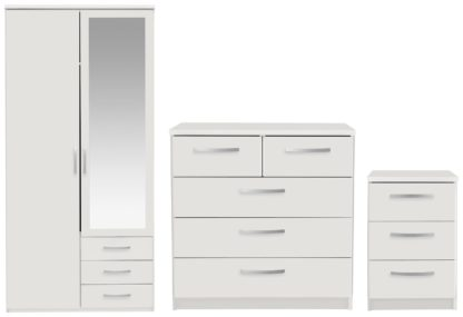 An Image of Argos Home Hallingford 3 Piece 2 Door Wardrobe Set - White