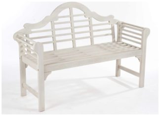 An Image of Lutyens Style Hardwood Garden Bench - White.