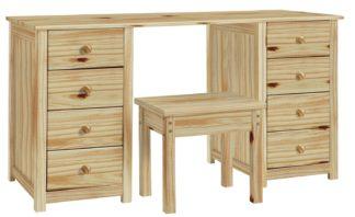 An Image of Habitat Scandinavia 8 Drw Dressing Table and Stool - Pine