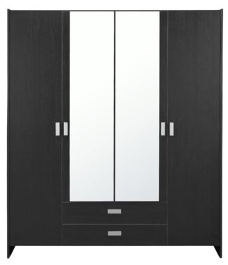 An Image of Argos Home Capella 4 Door 2 Drawer Mirrored Wardrobe - Black