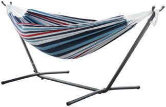 An Image of Vivere Double Cotton Hammock with Stand - Denim