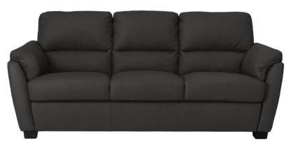 An Image of Argos Home New Trieste 3 Seater Leather Mix Sofa - Black