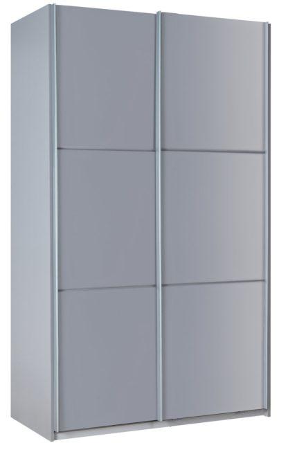 An Image of Habitat Holsted Gloss Medium Sliding Wardrobe - Grey