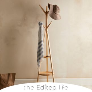 An Image of Ash Wood Coat Stand with Shelves Natural (Brown)