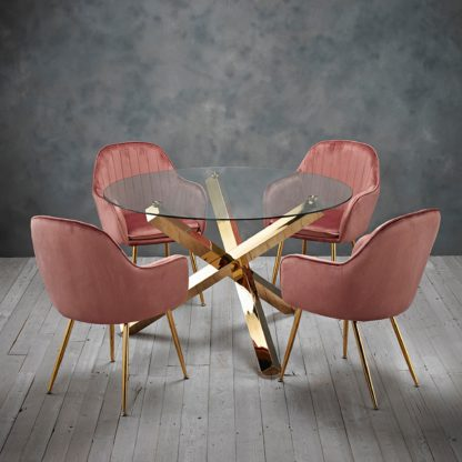 An Image of Laila 4 Seater Dining Set - Pink Pink