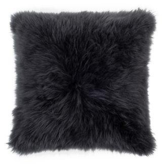 An Image of The Organic Sheep Cashmere Sheepskin Cushion Charcoal