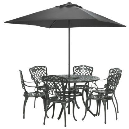 An Image of Argos Home Kensington Cast Aluminium Dining Set - Black