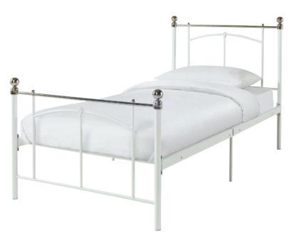 An Image of Habitat Yani Single Metal Bed Frame - White