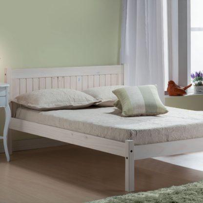 An Image of Rio Whitewash Bed Frame White
