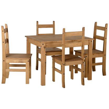 An Image of Corona Pine 4 Seater Dining Set Brown