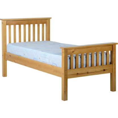An Image of Monaco Pine High Foot End Bed Frame Waxed