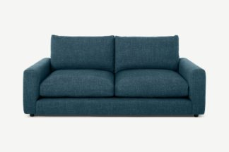 An Image of Arni 3 Seater Sofa, Aegean Blue Textured Weave