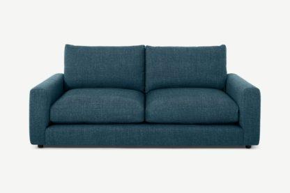 An Image of Arni 3 Seater Sofa, Aegean Blue Textured Weave