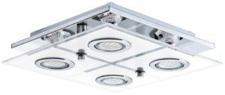An Image of Eglo Cabo Small 4 Light Glass Shade Ceiling Light - Chrome
