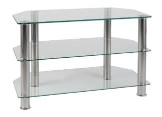 An Image of Argos Home Matrix Glass Corner TV Unit - Clear & Chrome