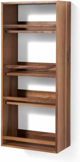 An Image of Clover 4-Tier Wall-Mounted Spice Rack, Natural Acacia Wood
