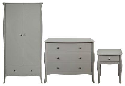 An Image of Amelie 3 Piece 2 Door 1 Drawer Wardrobe Set -Grey