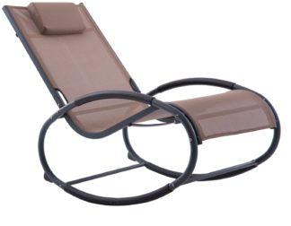 An Image of Vivere Wave Metal Rocker Chair - Macchiato On Matte Grey