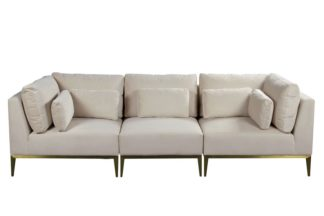 An Image of Cassie Three Seat Sofa – Chalk – Brushed Brass Base