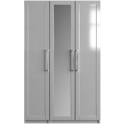 An Image of One Call Colby Gloss 3 Door Mirrored Wardrobe - Dark Grey